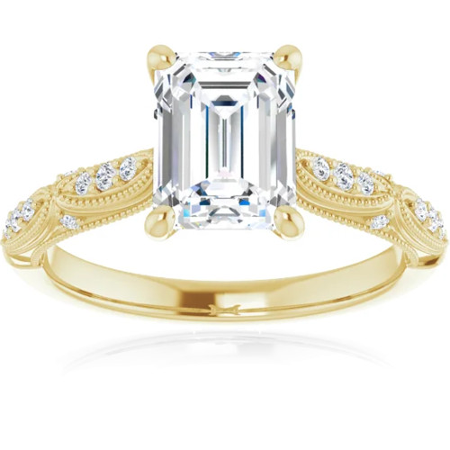 1 1/4 Ct Emerald Diamond Engagement Ring 14k Yellow Gold (I, SI1)