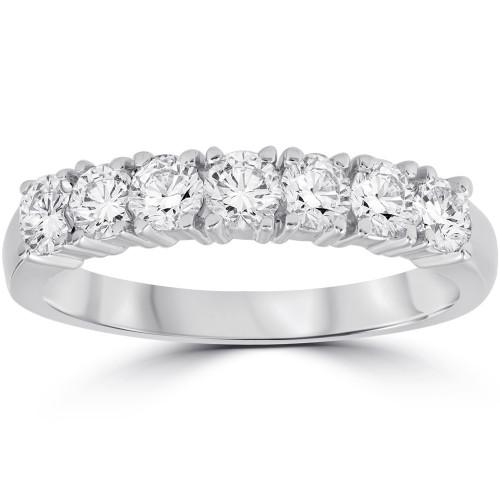 3/4 Ct Lab Grown Diamond EX3 7-Stone Wedding Ring 14k White Gold (((G-H)), SI(1)-SI(2))