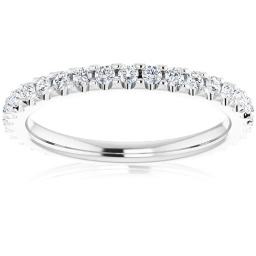 1/2 Ct Lab Grown Diamond EX3 Eternity Ring Womens Bad 14k White Gold (((G-H)), SI(1)-SI(2))