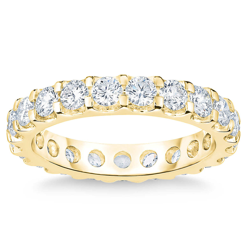 2 Ct Lab Grown Diamond Eternity Ring Womens Wedding Band 14k Yellow Gold (H/I, SI(1)-SI(2))