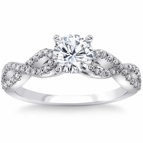 1 1/2 Ct Diamond Engagement Ring Infinity Twist Band (1ct center) 14k White Gold (G/H, SI1-SI2)