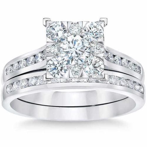 2 Ct Diamond Princess Cut Framed Engagement Wedding Ring Set White Gold (H/I, I1-I2)