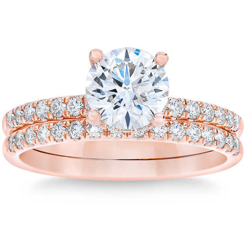 1 3/4 Ct Diamond Engagement Wedding Set 14k Rose Gold (G/H, SI1-SI2)