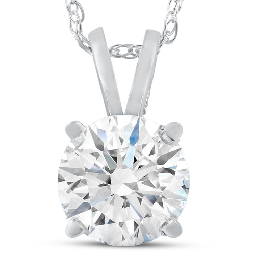 2 Ct Moissanite Solitaire Pendant 14k White Gold Womens Necklace