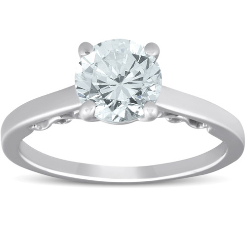 1 1/2 Ct Diamond & CZ Engagement Ring 14k White Gold (((G-H)), VS1-VS2)