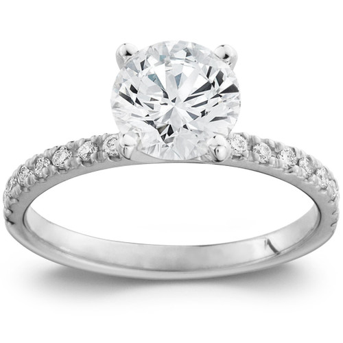 2 Ct Diamond Engagement Ring Single Row Band 14k White Gold (G/H, SI1-SI2)