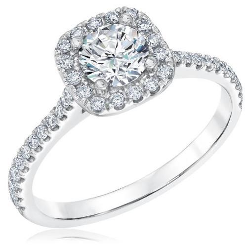 1 Ct Diamond Cushion Halo Engagement Ring 10k White Gold (G/H, I1-I2)