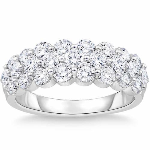 2 Ct Diamond Wedding Wide Anniversary Ring 10k White Gold (H/I, I1-I2)