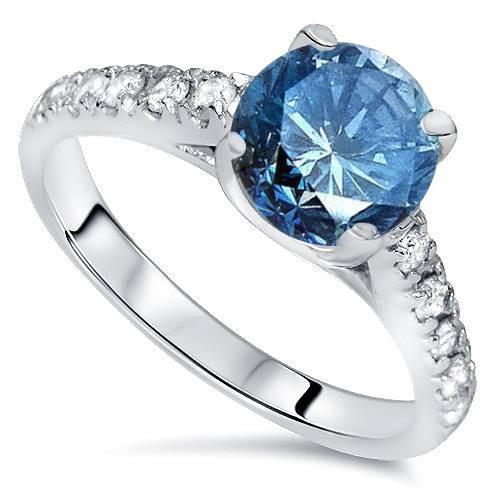 2 1/4ct Blue & White Diamond Engagement Ring 14K White Gold (G/H, I1-I2)