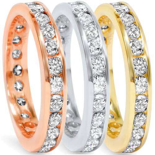 1.50Ct Diamond Channel Set Wedding Ring in 14K White Yellow or Rose Gold (G/H, I1)