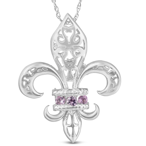 """Pink Sapphire Vintage Fleur De Lis Pendant 10KT White Gold 1"""""""