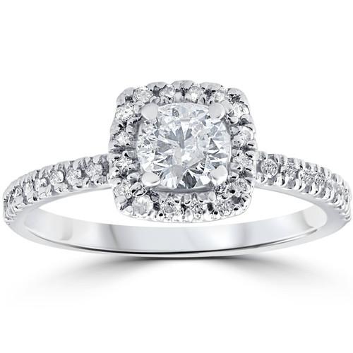 3/4ct Cushion Halo Diamond Engagement Ring 14K White Gold (G/H, I1-I2)
