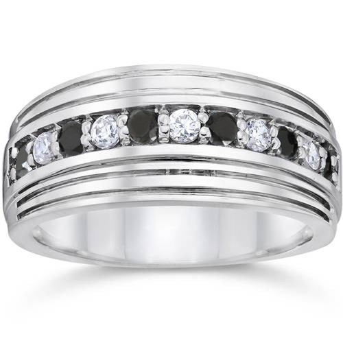 Mens 10k White Gold Alternating Black & White Diamond 1/2ct Wedding Ring (G/H, I2-I3)