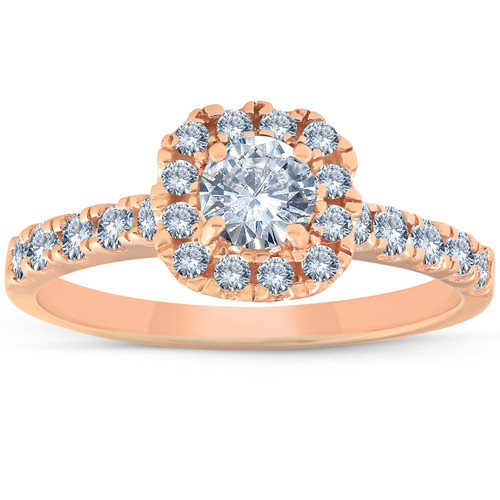 1 Ct Diamond Cushion Halo Engagement Ring 14k Rose Gold (H/I, I1-I2)