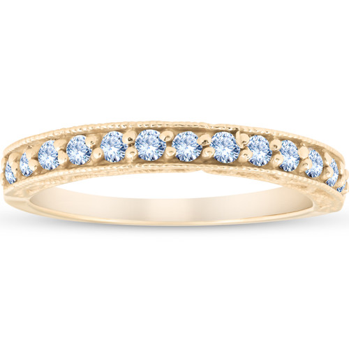 1/3Ct Diamond Wedding Ring Vintage Antique Accent Womens Band 14k Yellow Gold (H/I, I1-I2)