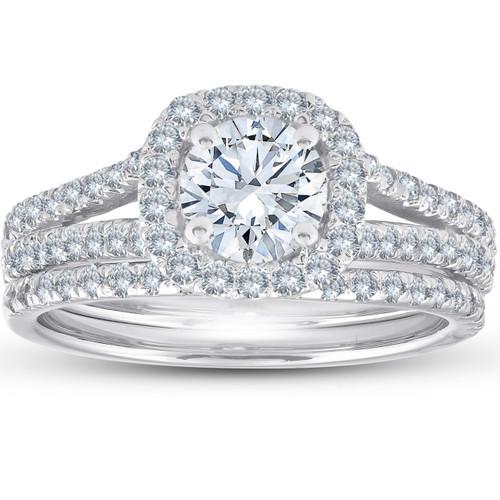 1 3/4 Ct Diamond Cushion Halo Engagement Ring Wedding Set White Gold (H/I, SI1-SI2)