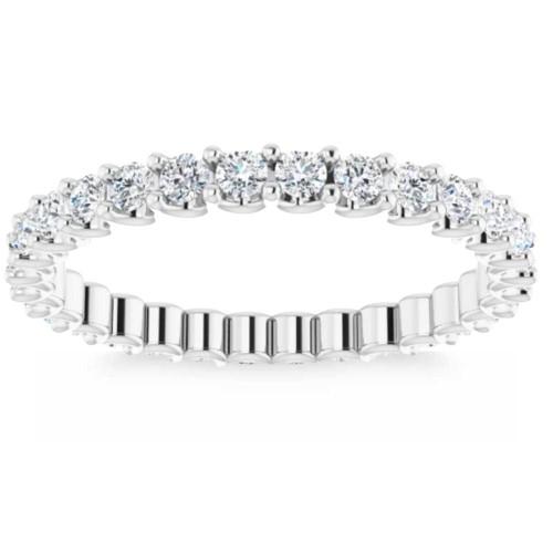 3/4Ct Diamond Eternity Ring 14k White Gold U Prong (H/I, I1-I2)