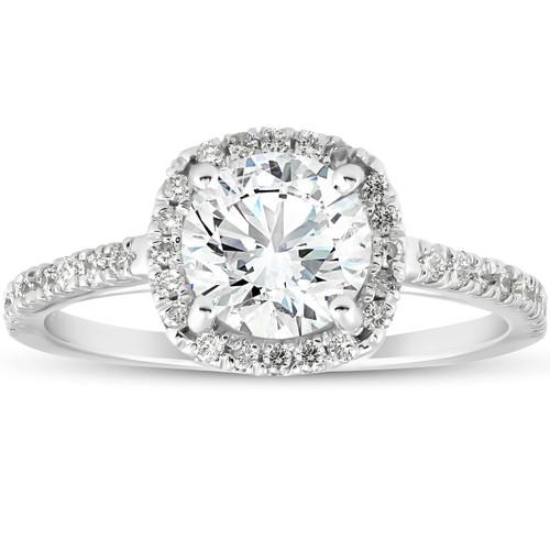 1 3/4Ct Moissanite Lab Grown Diamond Cushion Halo Engagemeng Ring 14k White Gold (G/H, VS1-VS2)
