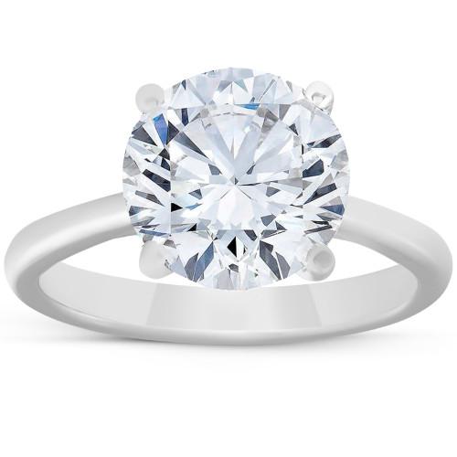 4ct Solitaire Moissanite Engagement Ring 14k White Gold 10MM (G/H, VVS1)