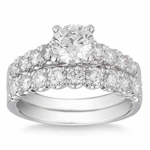 3 1/2 Ct Diamond Engagement Wedding Ring Set White Gold (H/I, I1-I2)