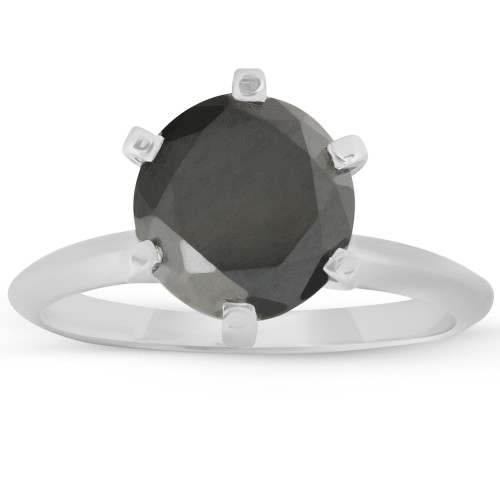 1 1/4Ct Black Diamond Solitaire Engagement Ring 10k White Gold (Black, )