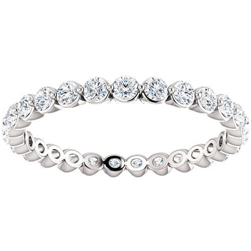 3/4 Ct Diamond Single Prong Eternity Ring Wedding Stackable Band 10k White Gold (H/I, I1-I2)
