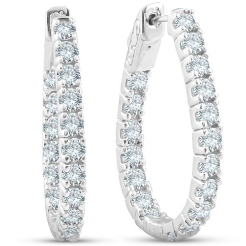 """3.90 CT Diamond Inside Outside Hoops 14k White Gold 1 1/4"""" Tall (G, SI1)"""