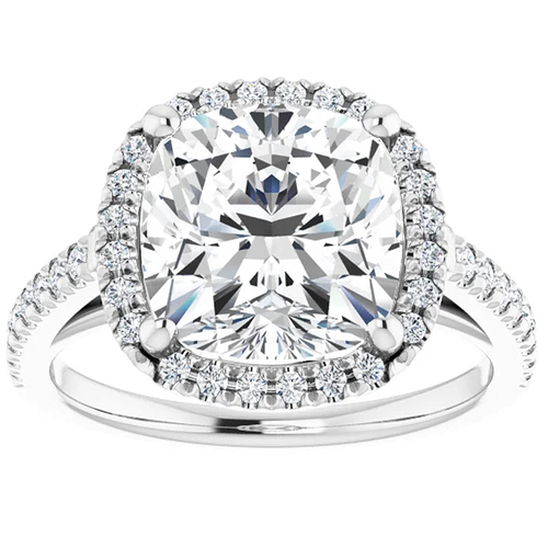 3 1/2 Ct Cushion Moissanite & Lab Diamond Engagement Halo Ring 10k White Gold (G/H, VS1-VS2)