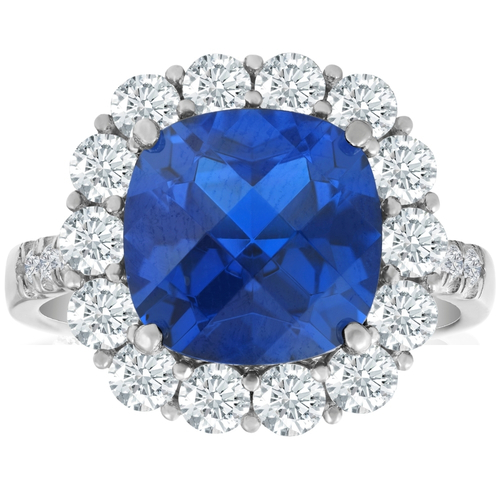 6 1/2 Ct Diamond Halo Created Sapphire Ring 10k White Gold (G/H, I1-I2)