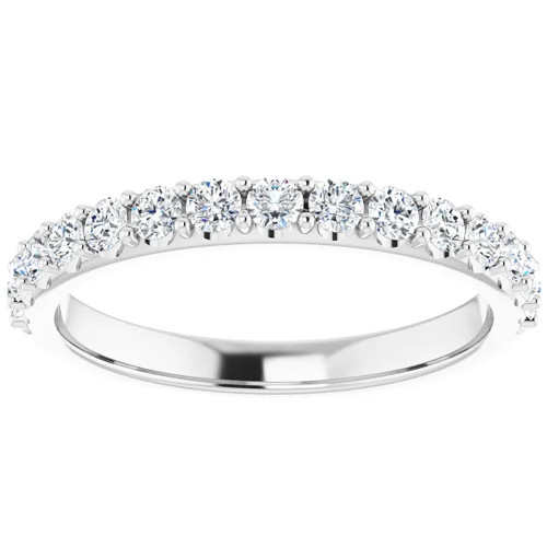 1/2Ct Lab Grown Diamond Stackable Anniversary Wedding Ring 14k White Gold ((G-H), I(1))