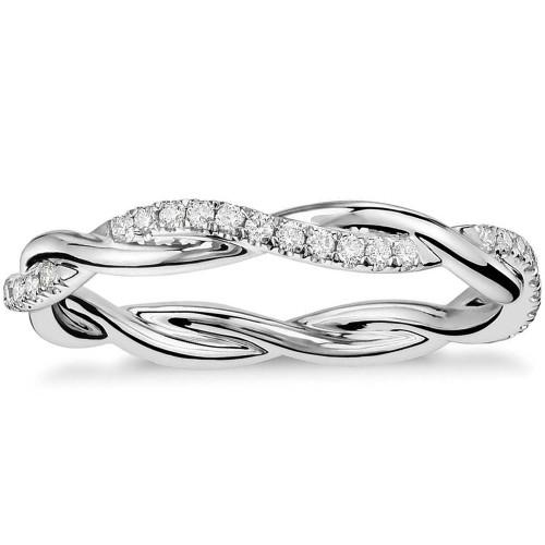 1/3 Ct Diamond Eternity Petite Twist Eternity Ring 10k White Gold (G/H, I1-I2)