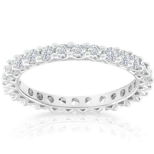 1 Ct TDW Diamond Eternity Wedding Ring 10k White Gold (G/H, I1-I2)