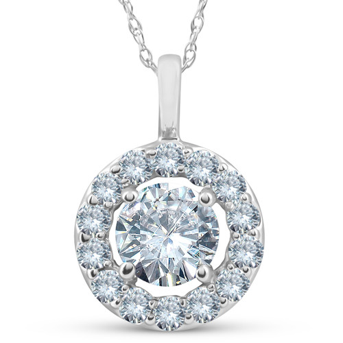 Certified 1.42Ct Lab Grown Diamond Halo Pendant Necklace White Gold (E/F, SI(2)-I(1))