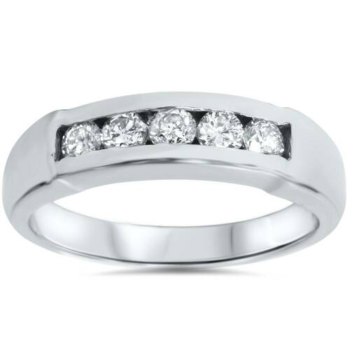 (GH/SI) Certified Mens 1/2ct Diamond Wedding Ring 14k White Gold (((G-H)), SI(1)-SI(2))