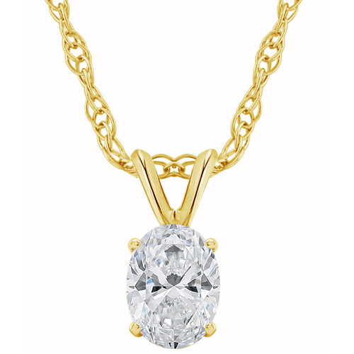 1/3Ct Certified Lab Grown Oval Diamond Solitaire Pendant Yellow Gold Necklace ((D), SI(1))