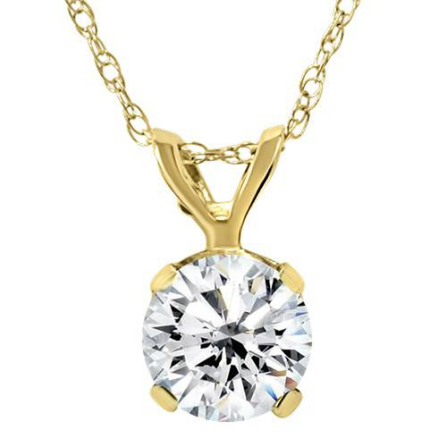 Certified 3/4ct Diamond Solitaire Pendant 14K Yellow Gold Necklace (I2-I3, KL)