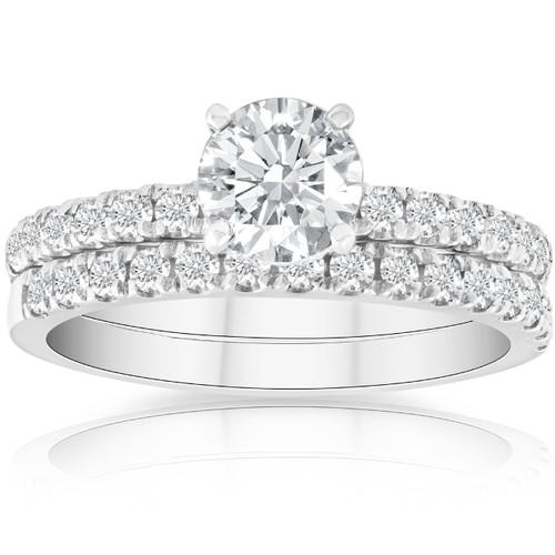 1 3/4 Ct Diamond Engagement Wedding Set 14k White Gold (G/H, SI1-SI2)