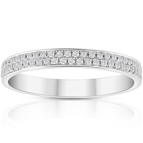 1/2Ct Pave Double Row Eternity Ring 18k White Gold (((G-H)), SI1-I1)