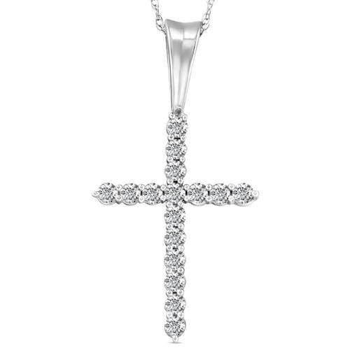 "1/2 Ct Diamond Cross Pendant Necklace 18"" White Gold (G/H, I1)"