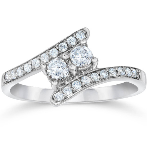 .57 Ct Certified Diamond Two Stone Forever Us Ring White Gold (F-H, SI(2)-I(1))