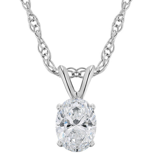 1/2Ct Certified Lab Grown Oval Diamond Solitaire Pendant 14k White Gold Necklace ((G), SI(1))