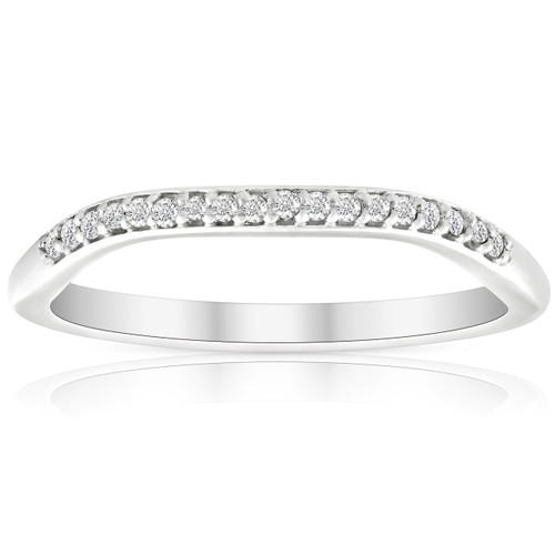 .10Ct Lab Grown Diamond Curved Contour Wedding Band Certified Ring White Gold ((H-I), SI(2)-I(1))