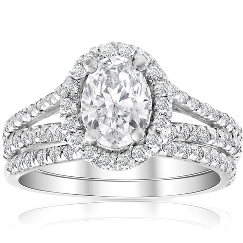 1.75Ct Oval Diamond Split Halo Engagement Wedding Ring Set White Gold Enhanced (G/H, SI1-SI2)