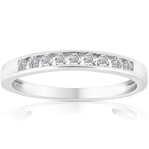 1/4 Ct Diamond Channel Set Wedding Ring 10k White Gold (K-L, I2-I3)