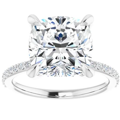 3 1/2 Cushion Moissanite and Diamond Engagement Ring 14k White Gold (G/H, SI1-SI2)