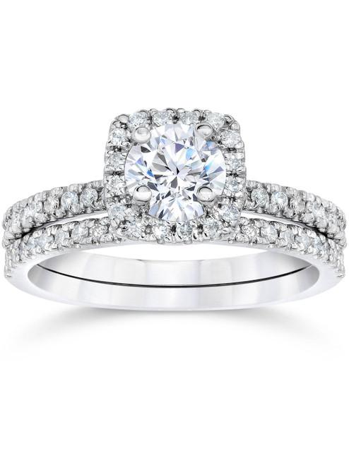 1 ct Diamond Cushion Halo Engagement Wedding Ring Set 14k White Gold (H/I, I1-I2)