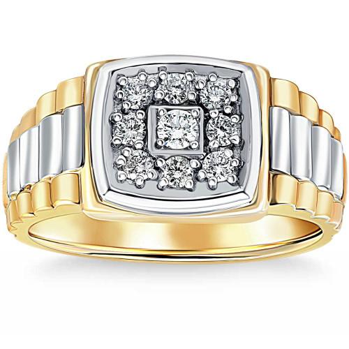 3/8ct Diamond Mens Ring 14k White & Yellow Gold Two Tone ((G-H), SI(1)-SI(2))