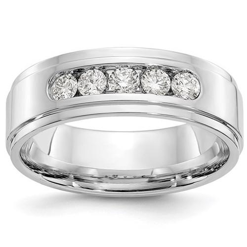 3/4Ct Diamond Mens Wedding Band White Gold Lab Grown (H, SI1-SI2)