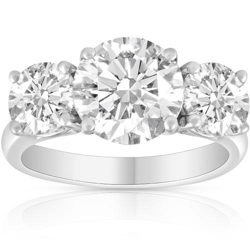 3 1/4 Ct Three Stone Diamond Engagement Ring 14k White Gold (G/H, SI1-SI2)