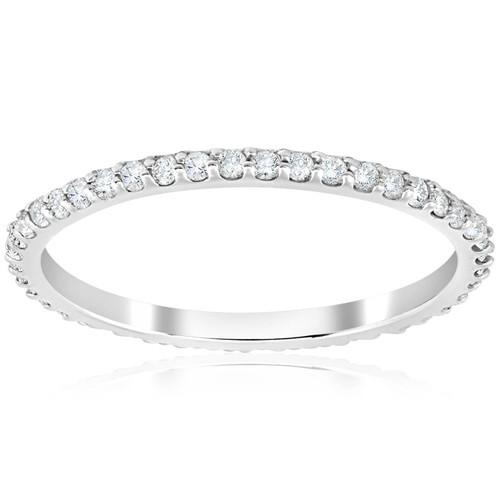 1/3Ct Diamond Skinny Stackable Eternity Ring 14k White Gold Womens Wedding Band (H/I, I1-I2)